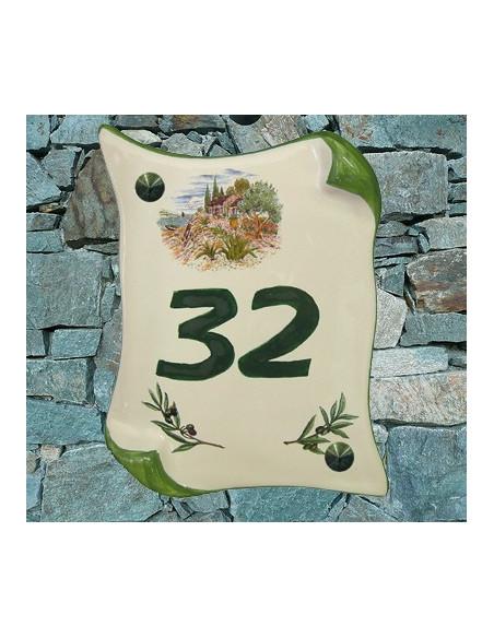 Plaque de Maison en faience modèle parchemin pose verticale décor cabanon et olivier inscription personnalisée verte