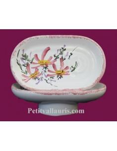 Porte savon modèle Anneau décor Fleur rose