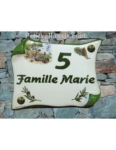 Plaque de Maison parchemin décor calanque,cigale et brins d'olivier inscription personnalisée verte