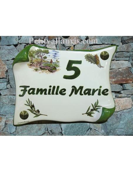 Plaque de Maison en céramique modèle parchemin 14x21 décor calanque + cigale + brins d'olivier inscription personnalisée