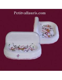 Porte savon modèle mural décor Fleur rose