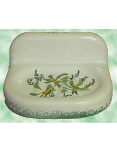 Porte savon modèle mural décor Fleur vert