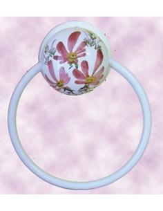 Porte serviette mural décor Fleuri rose (anneau métal)