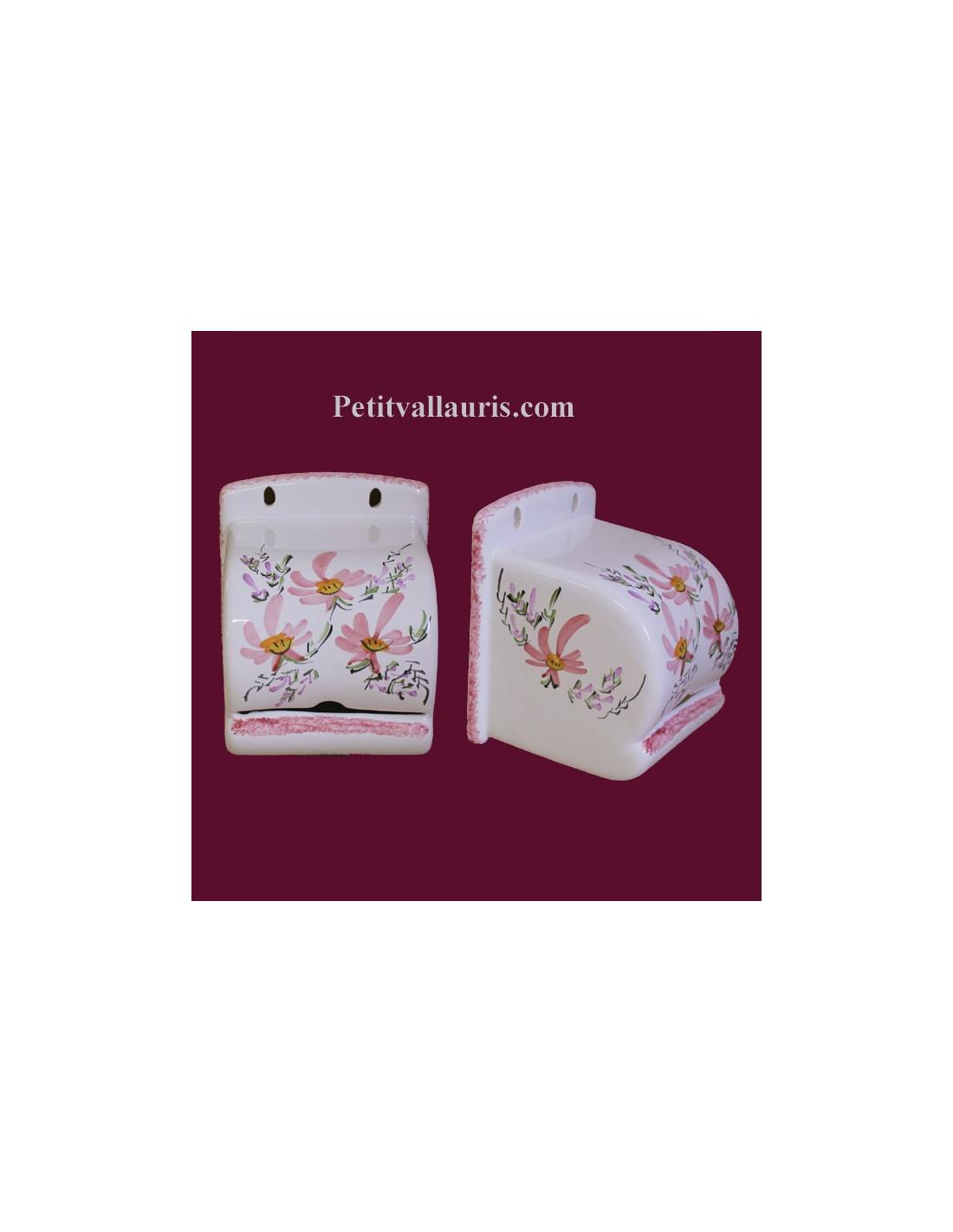 d rouleur de papier toilette d cor fleuri rose le petit vallauris. Black Bedroom Furniture Sets. Home Design Ideas