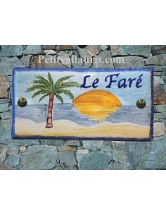 Plaque de maison faience émaillée décor plage cocotier inscription personnalisée bleue
