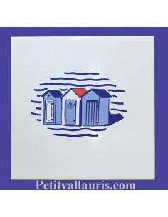 Carrelage décor Cabine de bain marine 15 x 15 cm