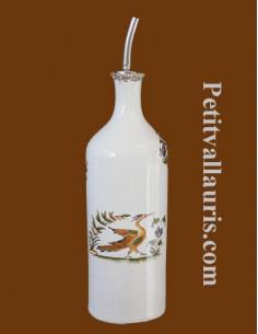 Huilier bouteille en faïence décor Tradition Vieux Moustiers polychrome