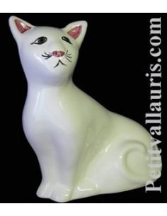 Chat céramique modèle Mistigri émaillé uni blanc