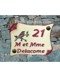 Plaque de Maison en faience modèle parchemin motif artisanal oiseau ton rose + inscription personnalisée