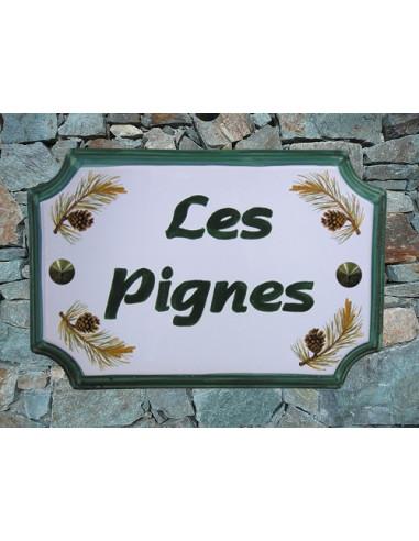 Plaque de Maison rectangle décor pomme de pin inscription personnalisée verte