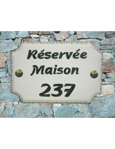 Plaque de Maison rectangle inscription personnalisée verte