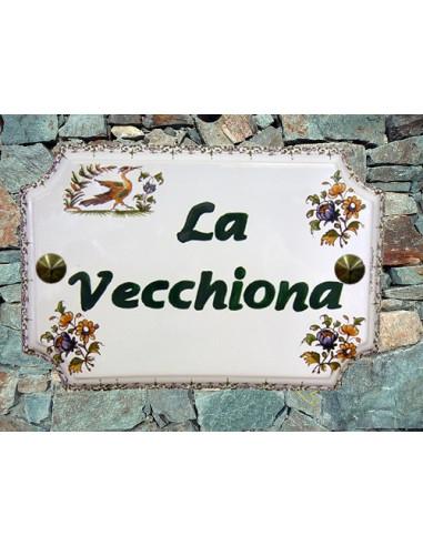 Plaque de Maison rectangle décor tradition vieux moustiers inscription personnalisée verte