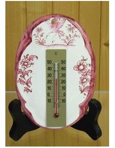 Thermomètre mural décor Tradition Vieux Moustiers rose