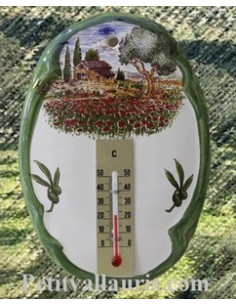 Thermomètre mural ovale Paysage Provençal 2196