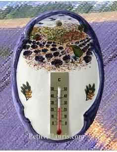 Thermomètre mural ovale Paysage Provençal 2204
