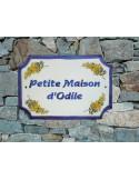 Plaque de Maison rectangle décor brins de mimosas inscription personnalisée bleue
