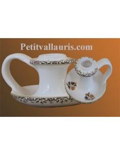 Bougeoir soucoupe décor Tradition Vieux Moustiers polychrome