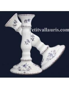 Chandelier en faïence décor Tradition Vieux Moustiers bleu