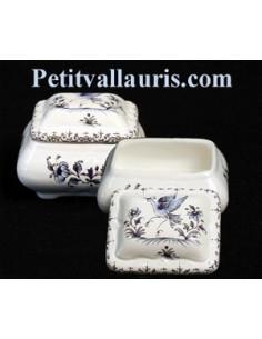 Boîte à bijoux rectangle décor Tradition Vieux Moustiers bleu
