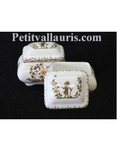 Boîte à bijoux rectangle décor Tradition Vieux Moustiers polychrome