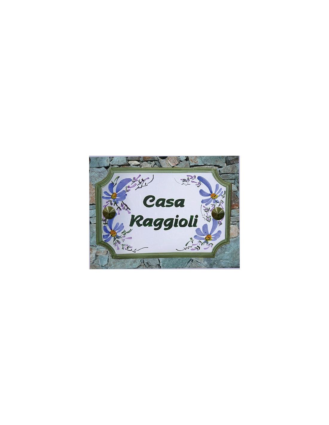 plaque de maison rectangle d cor fleurs bleues inscription personnalis e verte le petit vallauris. Black Bedroom Furniture Sets. Home Design Ideas