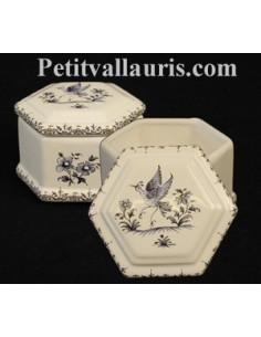 Boîte à bijoux hexagonale décor Tradition Vieux Moustiers bleu
