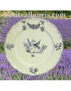 Assiette modèle Louis XV décor Tradition Vieux Moustiers bleu D21.5