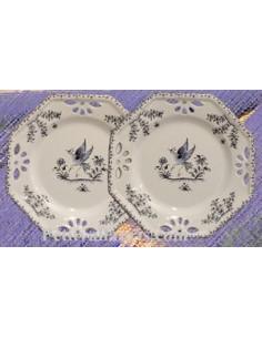 Assiette octogonale ajourée décor Tradition Vieux Moustiers bleu D21