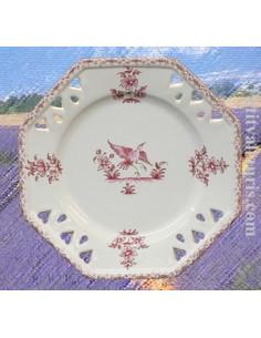 Assiette octogonale ajourée décor Tradition Vieux Moustiers rose D21