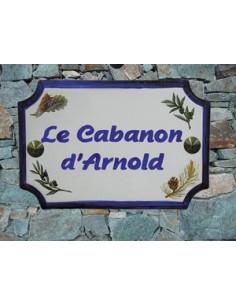 Plaque de Maison rectangle décor brins de lavandes,olives,pigne de pin et cigale inscription personnalisée bleue