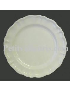 Assiette faïence plate modèle Louis XV émaillée unie blanche