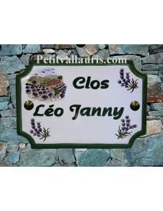 Plaque de Maison rectangle décor récolte des lavandes et brins de lavande inscription personnalisée verte