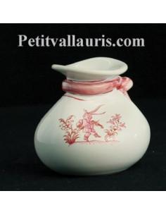 Bourse en faïence décor Tradition Vieux Moustiers rose