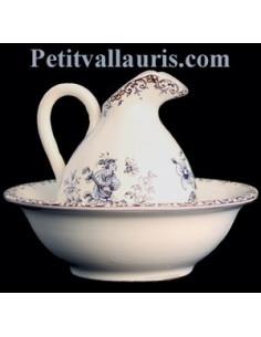 Lave main miniature en faïence décor Tradition Vieux Moustiers bleu