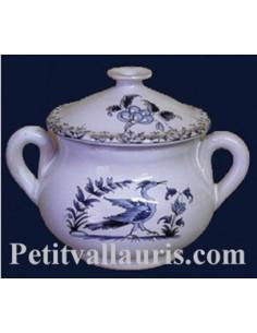 Marmitte ronde miniature en faïence décor Tradition Vieux Moustiers bleu