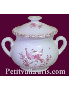 Marmitte ronde miniature en faïence décor Tradition Vieux Moustiers rose