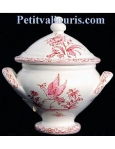 Soupière miniature en faïence décor Tradition Vieux Moustiers rose