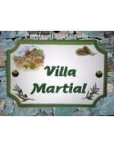 Plaque de Maison rectangle décor cabanon,cigale et olivier inscription personnalisée et bord vert