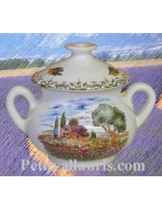 Marmite ronde miniature en faïence décor Paysage Provençal