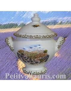 Soupière miniature en faïence décor Paysage Provençal