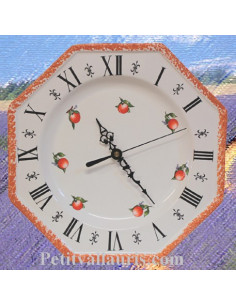 Horloge octogonale en faïence décor Orange
