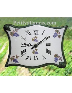 Horloge forme parchemin décor Grappe de raisin