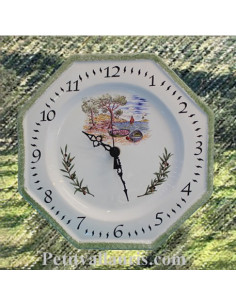 Horloge octogonale en faïence décor Calanque et Olive
