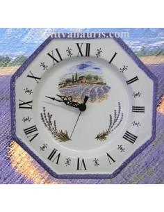 Horloge octogonale décor Champ Lavande bord bleu chiffres romains