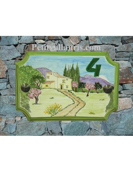Plaque de Maison rectangle décor et texte personnalisés bastide et amandiers inscription verte