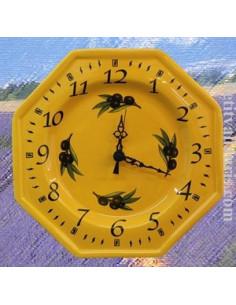 Horloge octogonale décor Jaune provence et Olives noires