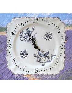 Horloge carrée de style décor Tradition Vieux Moustiers bleu