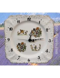 Horloge carrée de style décor Tradition Vieux Moustiers poly