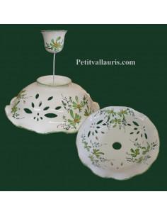 Suspension décorative céramique décor Fleuri vert D35
