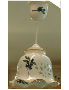 Suspension dentelée modèle Cloche décor Olives bleues